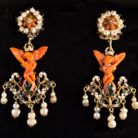 Antique Sicilian coral earrings