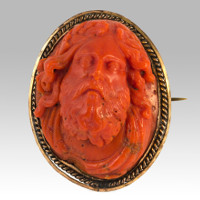 Carved Coral Cameo Brooch