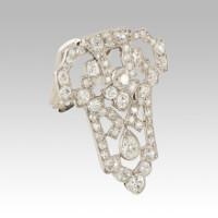 Platinum and diamonds clip and pendant Art Decò
